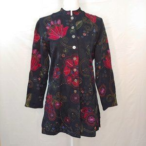Chico's Embroidered Button Front Jacket Sz 0
